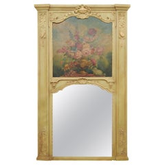 French 1870s Napoléon III Period Painted Trumeau Mirror with Floral Oil Painting