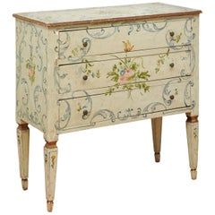 French 1870s Napoléon III Three-Drawer Chest with Painted Floral Decor