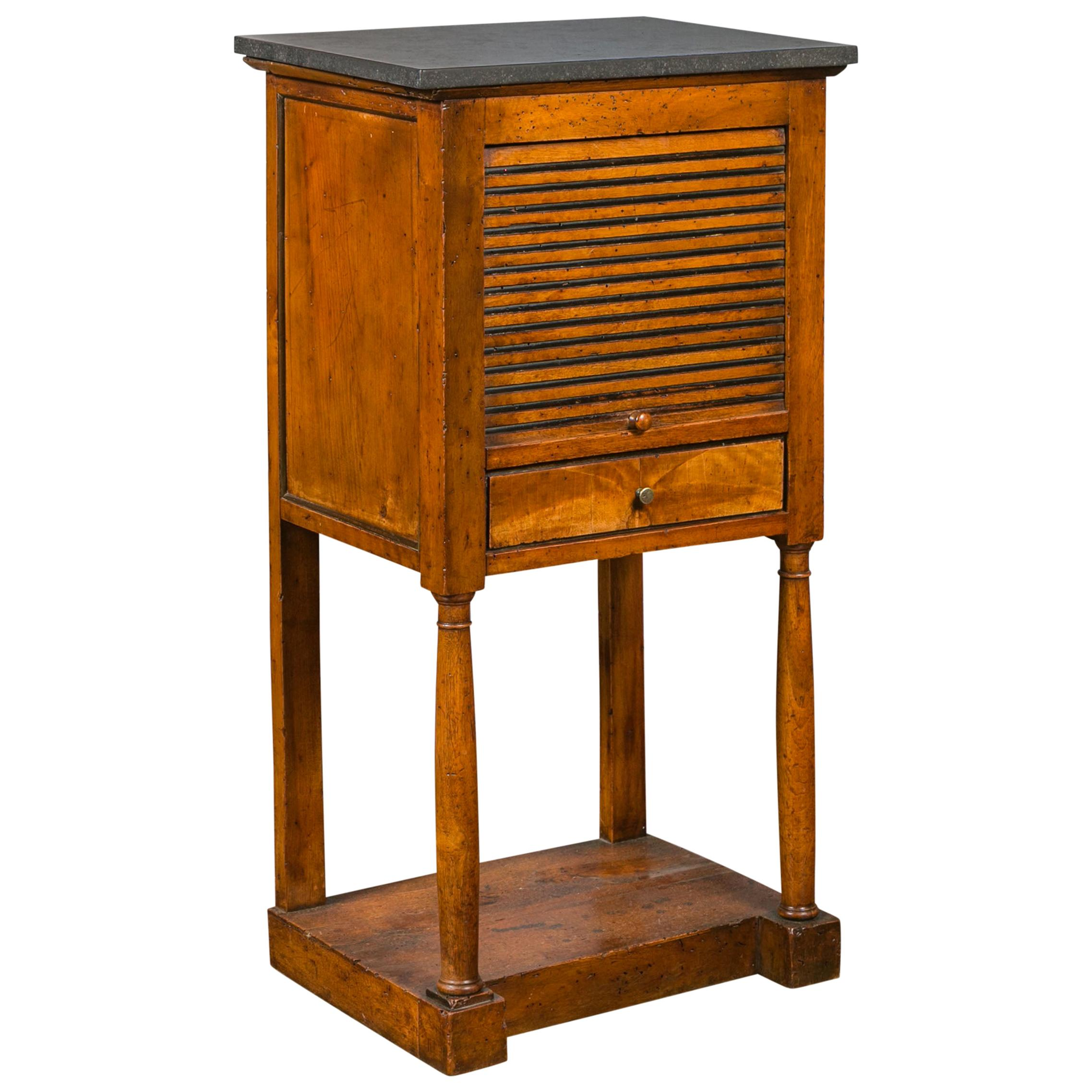 French 1870s Napoleon III Walnut Bedside Table with Stone Top and Tambour Door