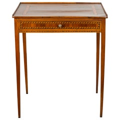 French 1870s Napoléon III Walnut Side Table with Star Inlay and Single Drawer