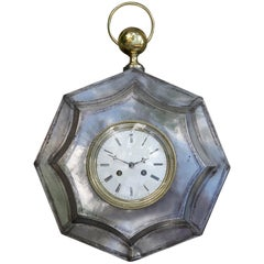 French 1870s Polished Steel and Brass Octagonal Pocket Watch Shaped Clock