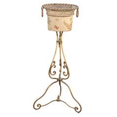 French 1870s Tôle and Iron Jardinière with Floral Décor and Scrolling Base
