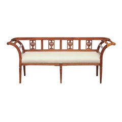 French 1870s Upholstered Fruitwood Settee with Carved Urns and Outscrolling Arms