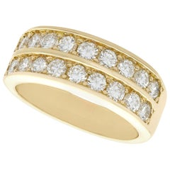 French 1.88 Carat Diamond and Yellow Gold Half Eternity Ring