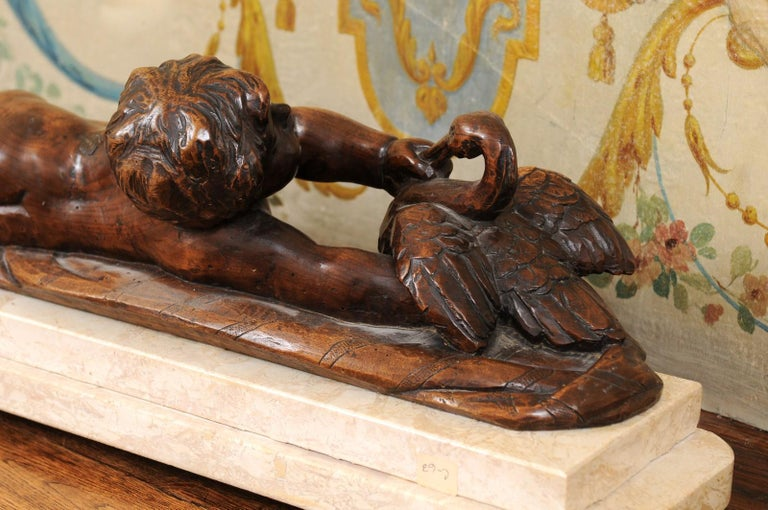 French 1880s Carved Walnut Putto Feeding a Swan Sculpted Group on Marble Base For Sale 7