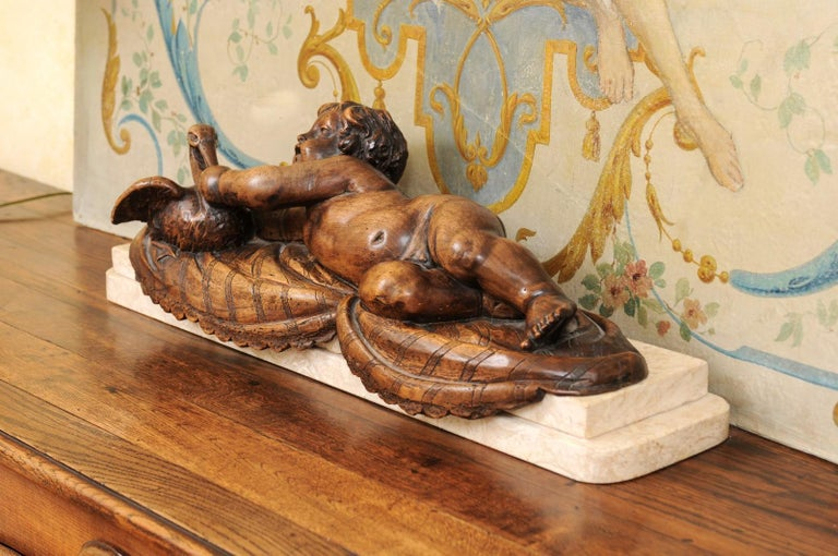 19th Century French 1880s Carved Walnut Putto Feeding a Swan Sculpted Group on Marble Base For Sale