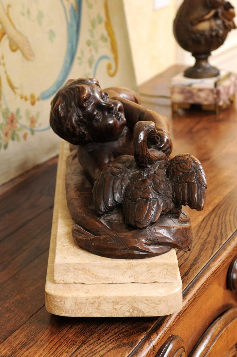 French 1880s Carved Walnut Putto Feeding a Swan Sculpted Group on Marble Base For Sale 2