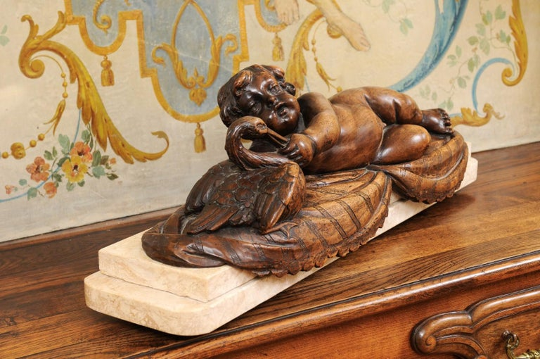 French 1880s Carved Walnut Putto Feeding a Swan Sculpted Group on Marble Base For Sale 3