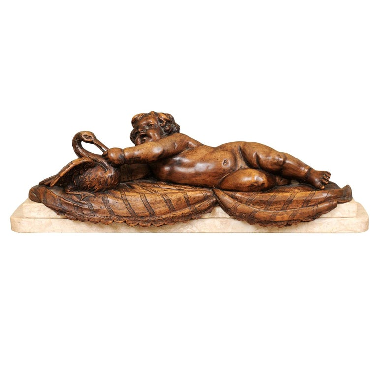 French 1880s Carved Walnut Putto Feeding a Swan Sculpted Group on Marble Base For Sale