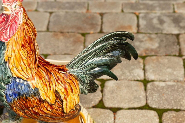 French 1880s Choisy-le-Roi Majolica Rooster Signed Louis-Robert Carrier-Belleuse 3