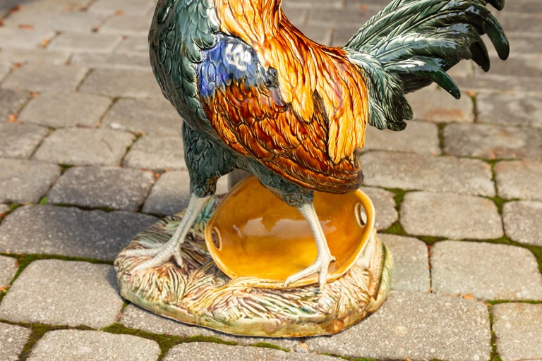 French 1880s Choisy-le-Roi Majolica Rooster Signed Louis-Robert Carrier-Belleuse 4