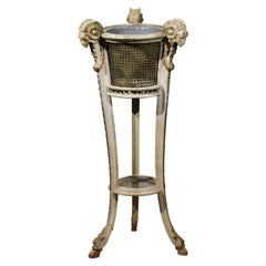 French 1880s Directoire Style Rams' Head Plant Stand with Cane and Tin Liner