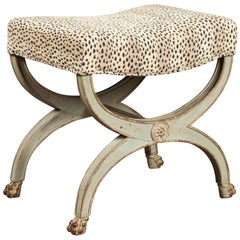 French 1880s Empire Style Painted Curule Stool with Printed Fabric and Paw Feet