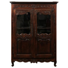 French 1880s Louis XV Style Walnut Vitrine with Carved Foliage and Glass Doors