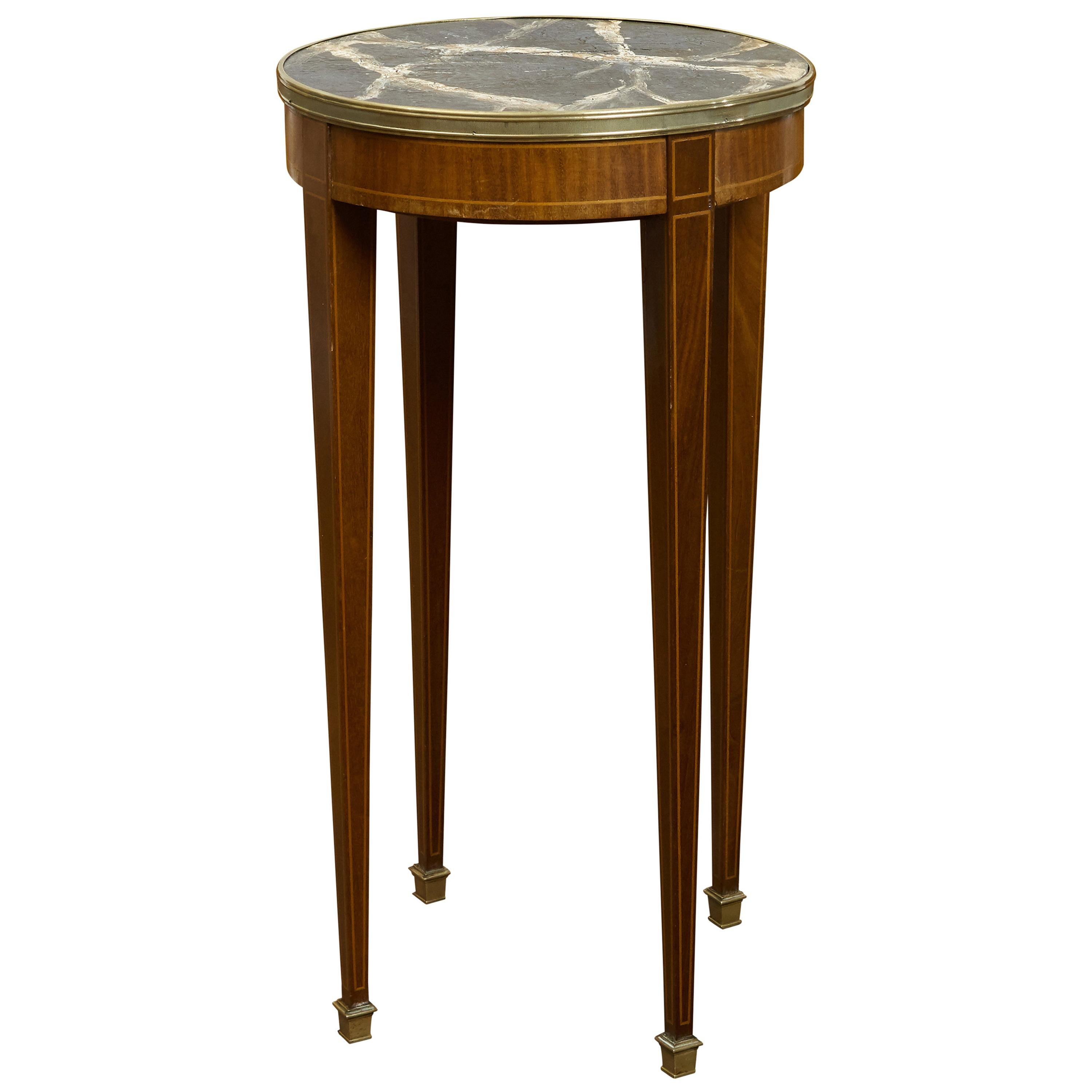 French 1880s Mahogany Guéridon Side Table with Faux Marble Painted Top