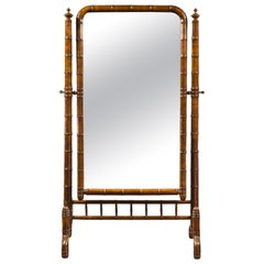 French 1880s Napoléon III Faux Bamboo Walnut Cheval Mirror with Turned Finials