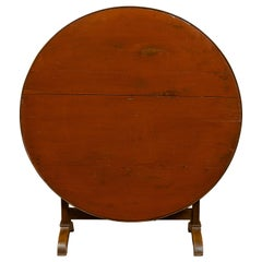 French 1880s Painted Wine Tasting Table with Round Tilt-Top and Trestle Base