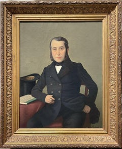 Fine 1880's French Portrait of Dapper Gentleman with Cigar & Top Hat, Signed Oil