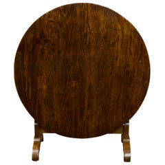 French 1880s Pine Wine Tasting Tilt-Top Table with Circular Top and Dark Patina