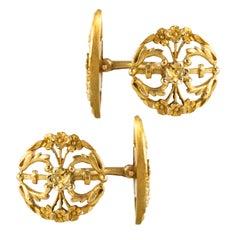 French 1890s Art Nouveau 18 Karat Yellow Gold Cufflinks