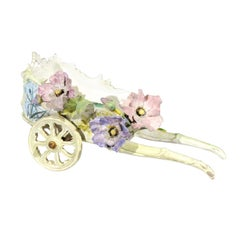 French 1890s Decorative Majolica Wagon with Barbotine Décor of Pastel Flowers