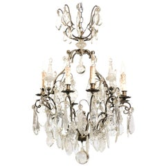 French 1890s Eight-Light Crystal Chandelier with Bronze Armature and Obelisks