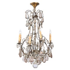 French 1890s Eight-Light Steel Chandelier with Clear and Smoky Crystals