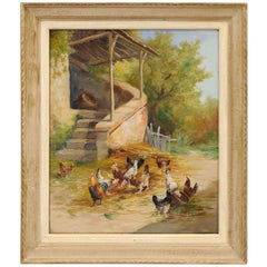 French 1890s Framed Oil on Canvas Painting Depicting Chickens in a Barnyard