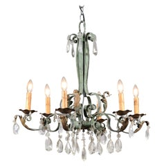 French 1890s Grey Green Painted Metal Six-Light Chandelier with Faceted Crystals