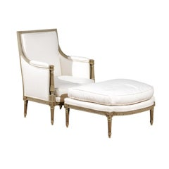 French 1890s Louis XVI Style Carved Two-Part Duchesse Brisée with Upholstery