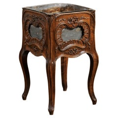 French 1890s Rococo Revival Walnut Planter with Rocailles and Floral Motifs