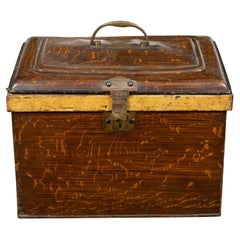 French 1890s Rustic Painted Tôle Box with Wood Grain Finish and Goldenrod Accent