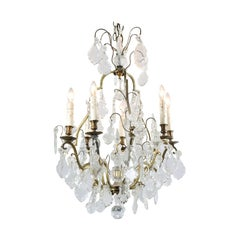 French 1890s Six-Light Crystal Chandelier with Obelisks and Brass Armature