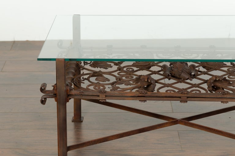 English French 1892 Iron Balcony Fragment Made into a Coffee Table with Glass Top For Sale