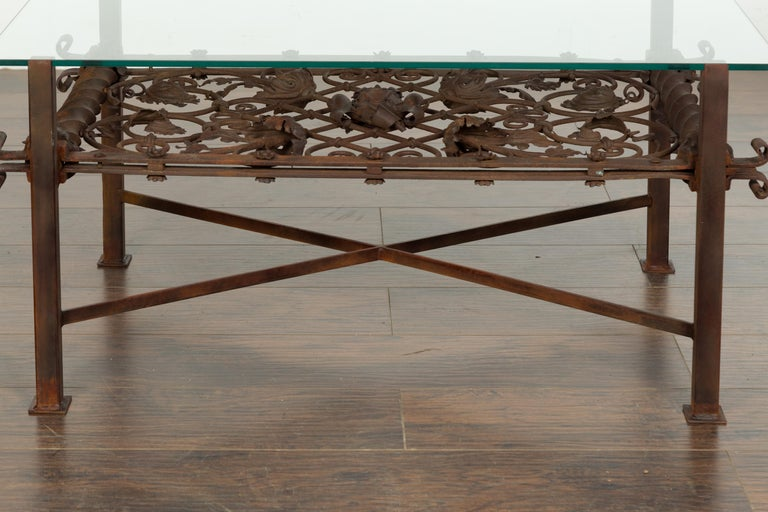 19th Century French 1892 Iron Balcony Fragment Made into a Coffee Table with Glass Top For Sale