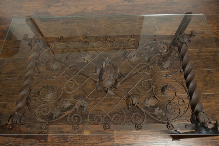 French 1892 Iron Balcony Fragment Made into a Coffee Table with Glass Top For Sale 1