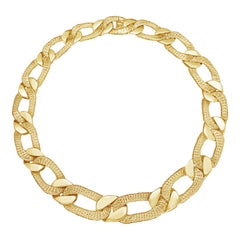 French 18 Carat Gold Necklace Woven/Polished Curb Gourmette by Cartier, 1972