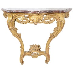 French 18h Century Carved Giltwood, Marble Topped Console Table