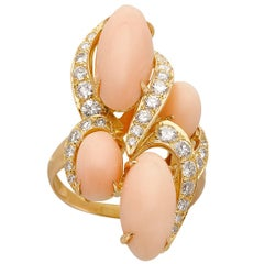 French 18k Gold Angel Skin Coral & Diamond Ring