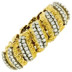 French 18k Gold & Platinum 13.57ct Diamond Wide Textured Leaf Statement Bracelet