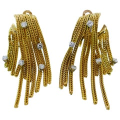 French 18k Yellow Gold and Diamond Tassel Dangle Earrings Vintage, circa 1960s
