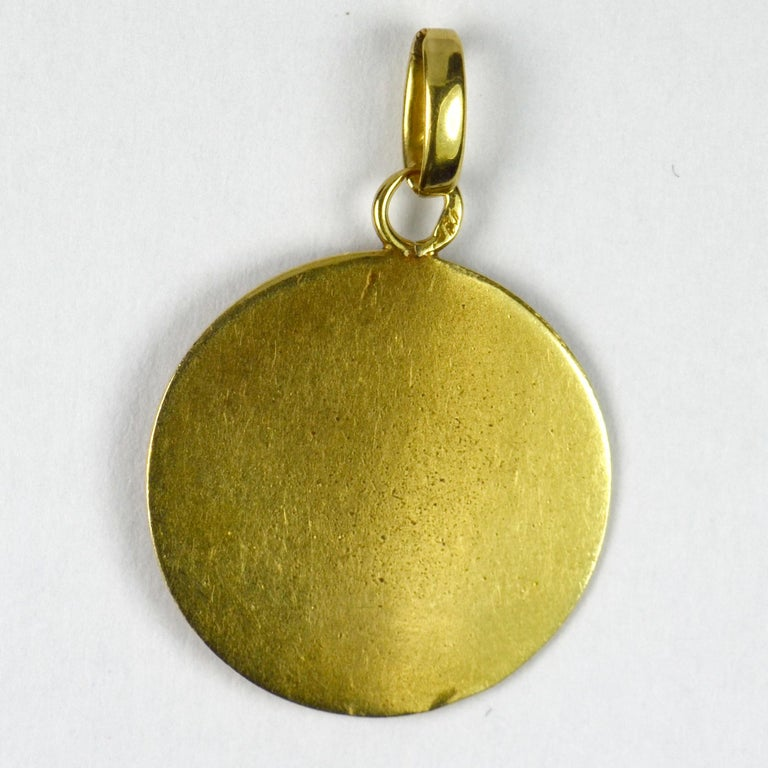 French 18 Karat Yellow Gold Ecce Homo Jesus Christ Crown of Thorns Charm Pendant For Sale 1