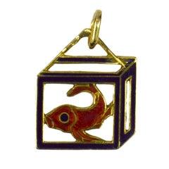 French 18 Karat Yellow Gold Enamel Koi Carp Charm Pendant
