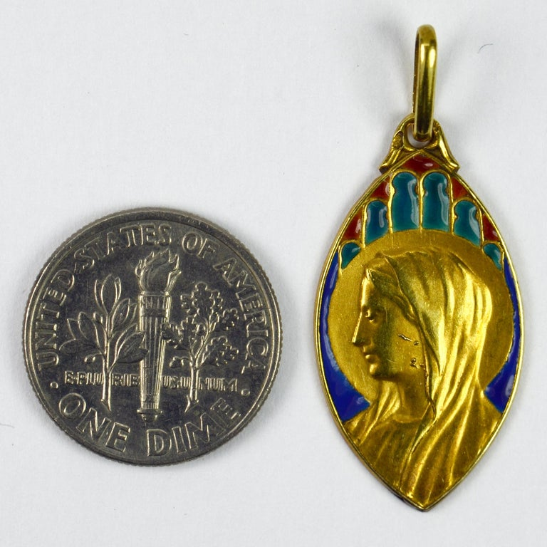 French 18 Karat Yellow Gold Enamel Virgin Mary Navette Charm Pendant For Sale 1