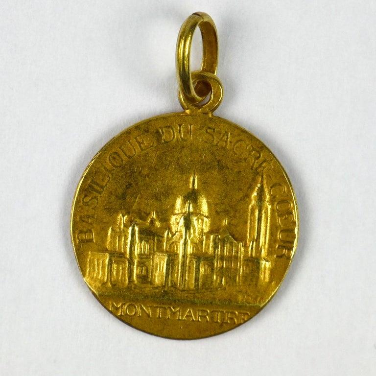 French 18 Karat Yellow Gold Montmartre Sacred Heart Charm Pendant 1