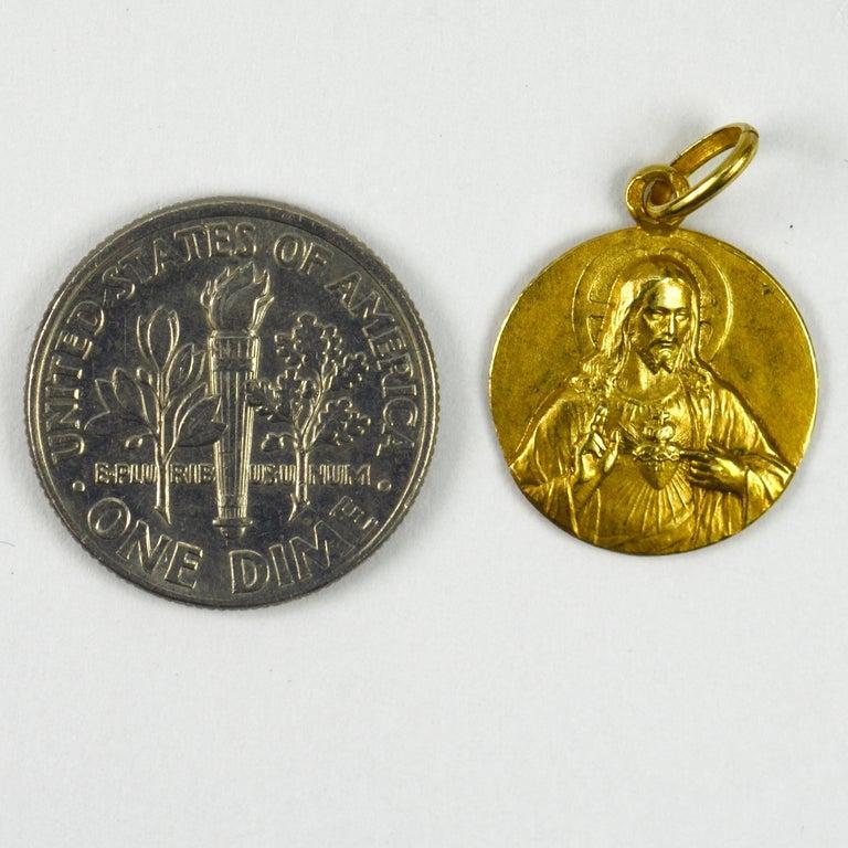 French 18 Karat Yellow Gold Montmartre Sacred Heart Charm Pendant 2