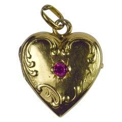 French 18 Karat Yellow Gold Red Ruby Heart Locket Charm Pendant