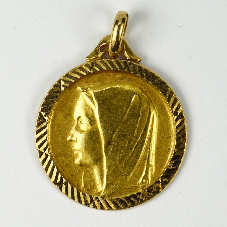 Women's French 18 Karat Yellow Gold Virgin Mary Charm Pendant Medal For Sale
