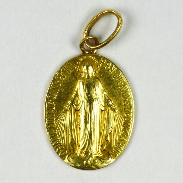 Women's or Men's French 18 Karat Yellow Gold Virgin Mary Miraculous Medal Charm Pendant For Sale