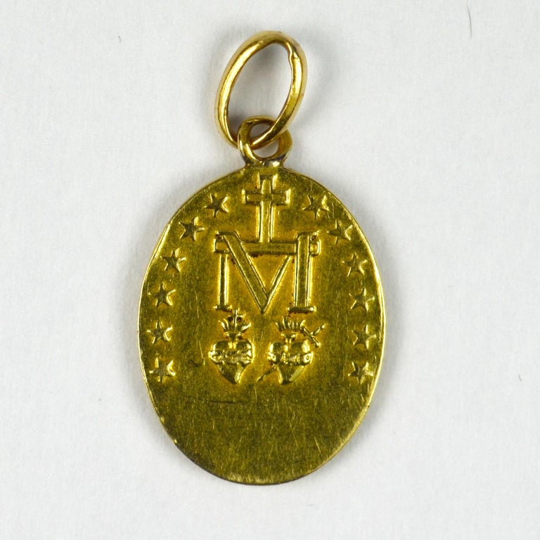 French 18 Karat Yellow Gold Virgin Mary Miraculous Medal Charm Pendant For Sale 1